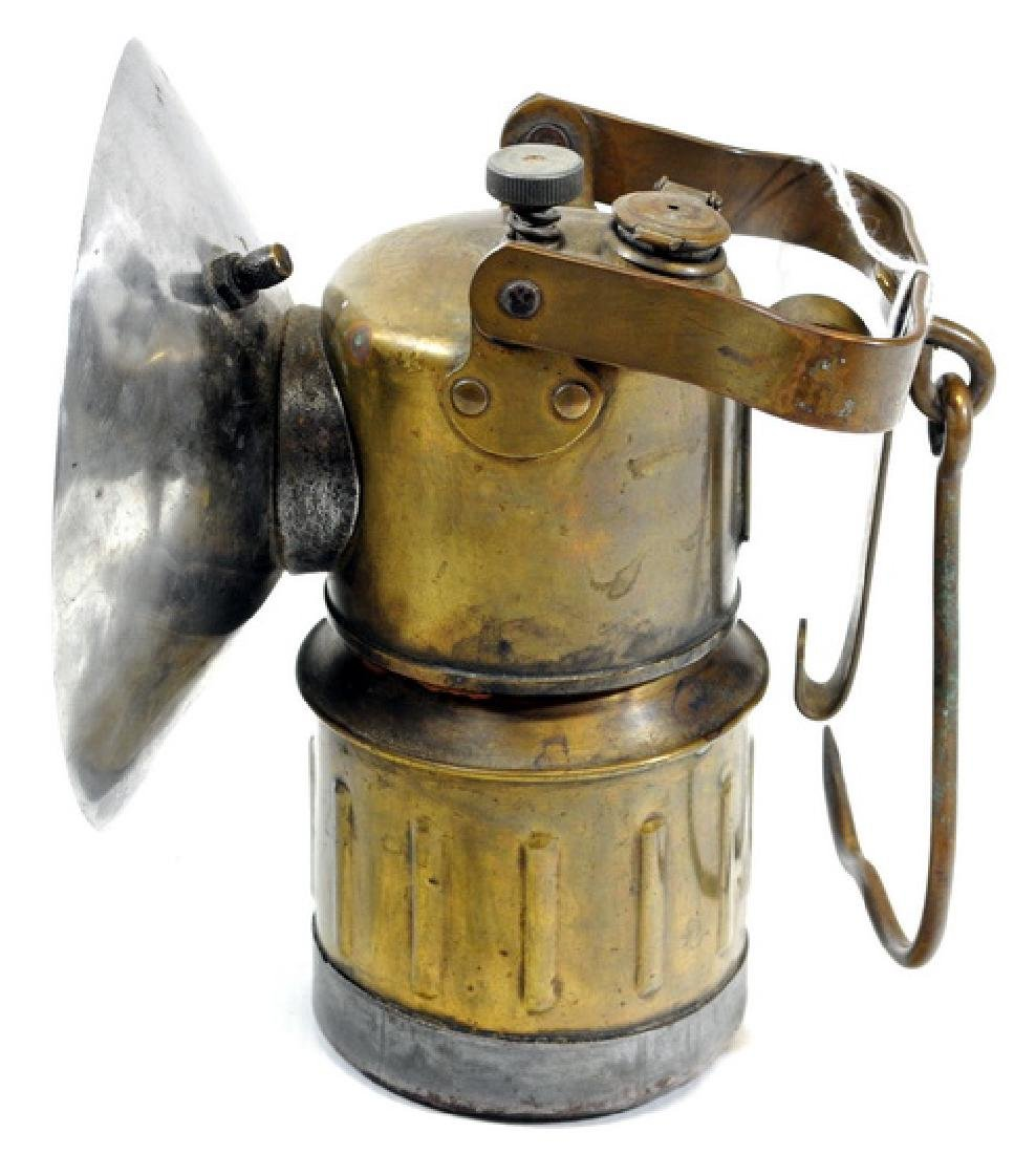 Antique All Brass Miners Carbide Lamp - 3