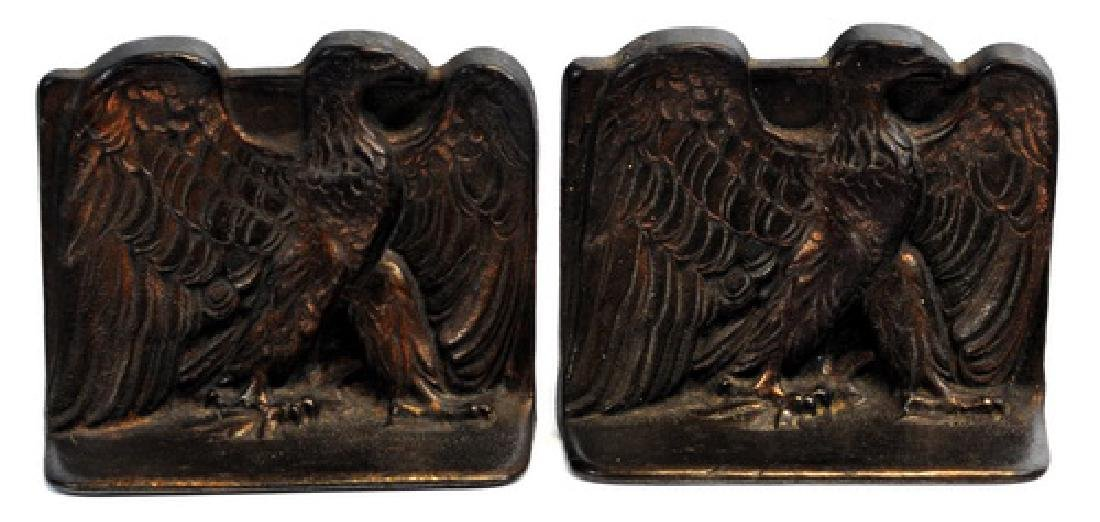 Pair Of Early Eagle Bronze Bookends
