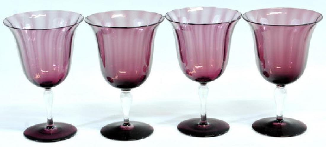 8 Pieces Of Steuben Amethyst Glass