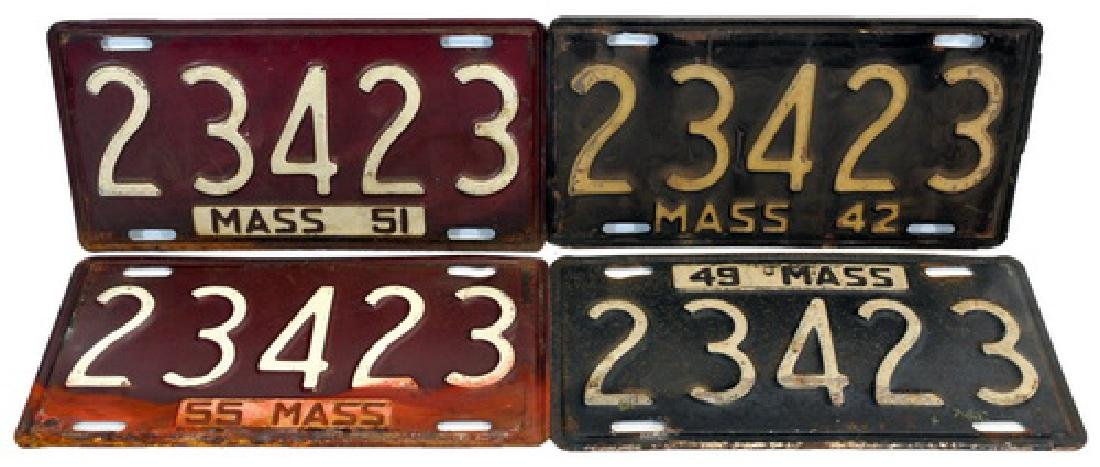 6 Early Massachusetts Steel License Plates