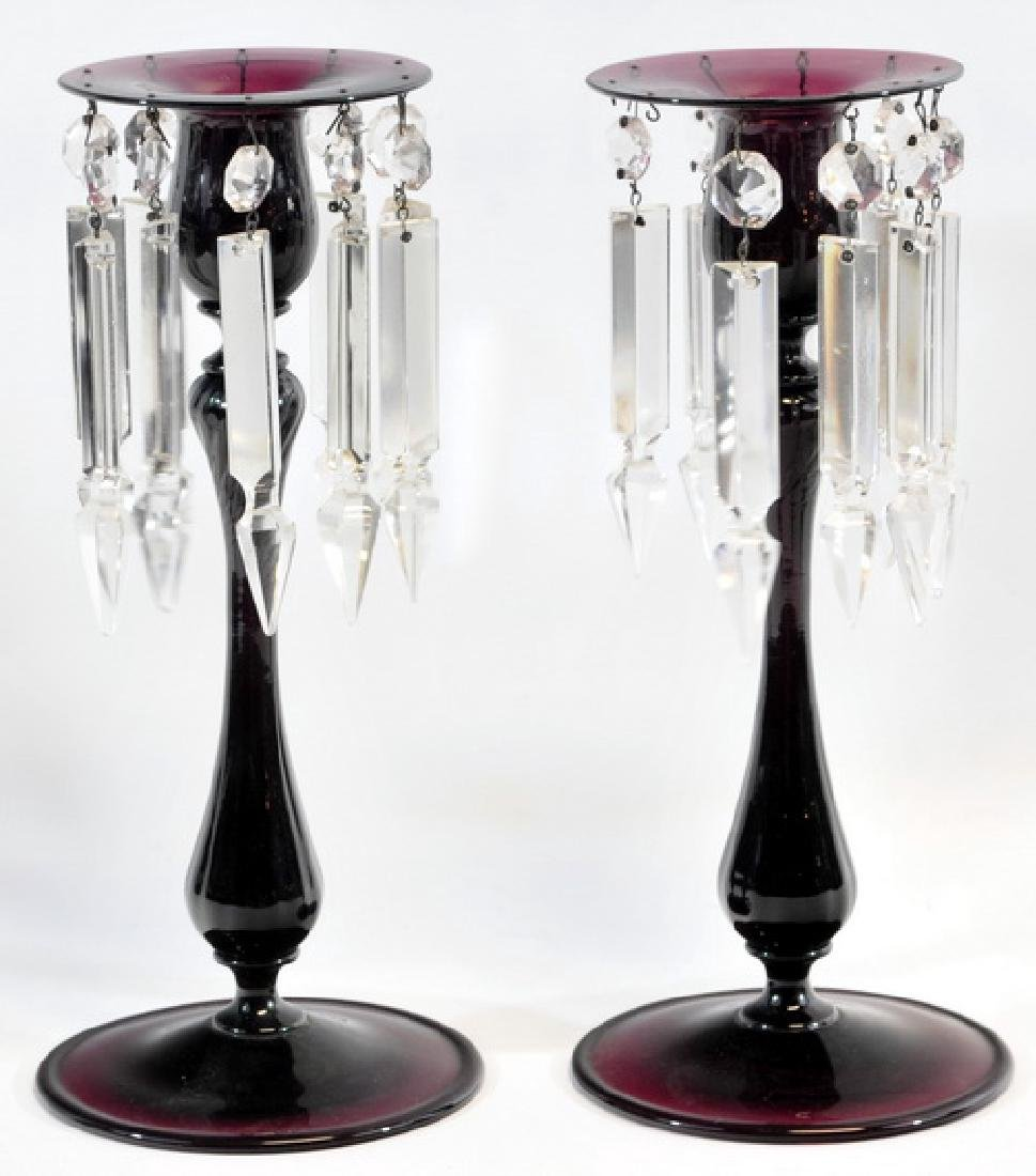 4 Antique Amethyst Candlesticks/vases
