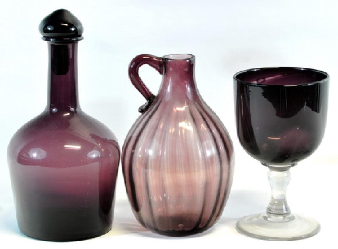7 Amethyst Vases, Decanters - 2