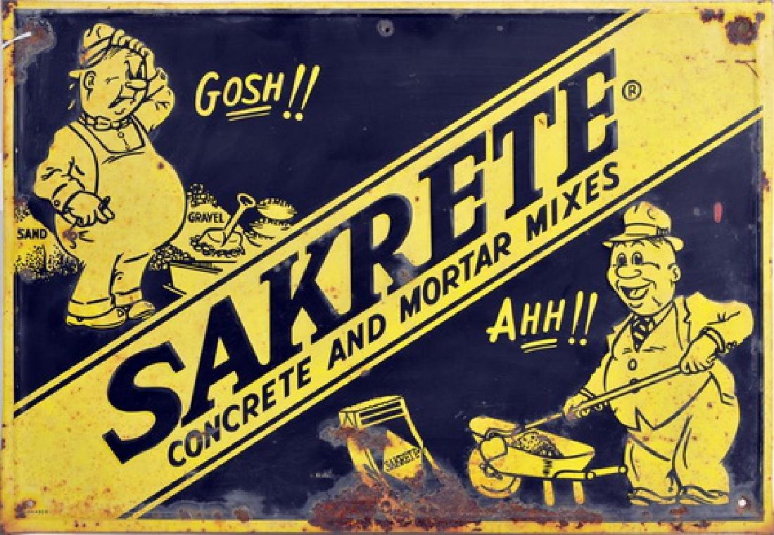 Vintage Sakrete Cement Construction Sign