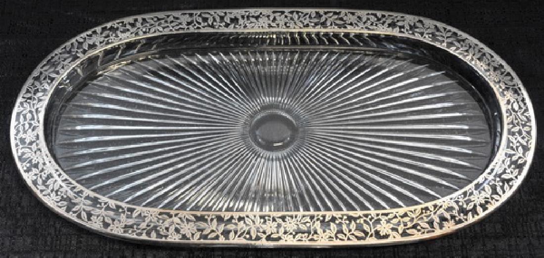 Antique Sterling Overlay Glass Decanter/ Cruet