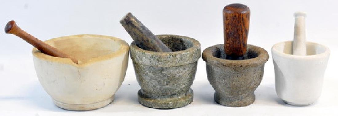 7 Antique Mortar And Pestles