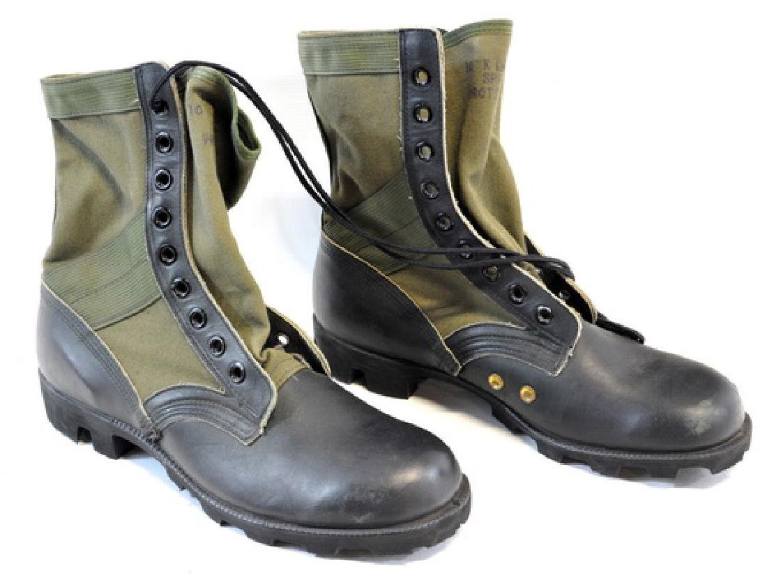 1 Pair Jungle Boots, Canvas With Black Leather