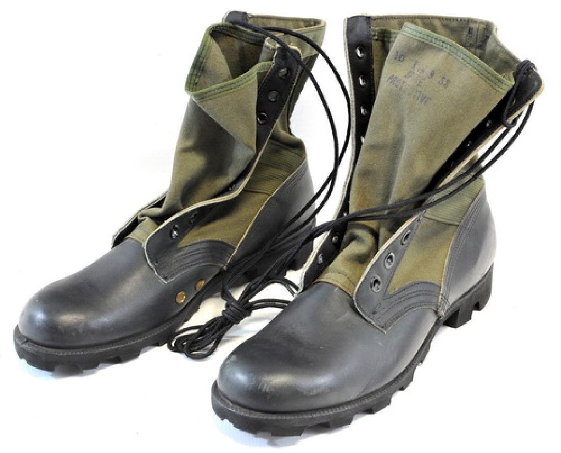 1 Pair Jungle Boots, Canvas With Black Leather - 2