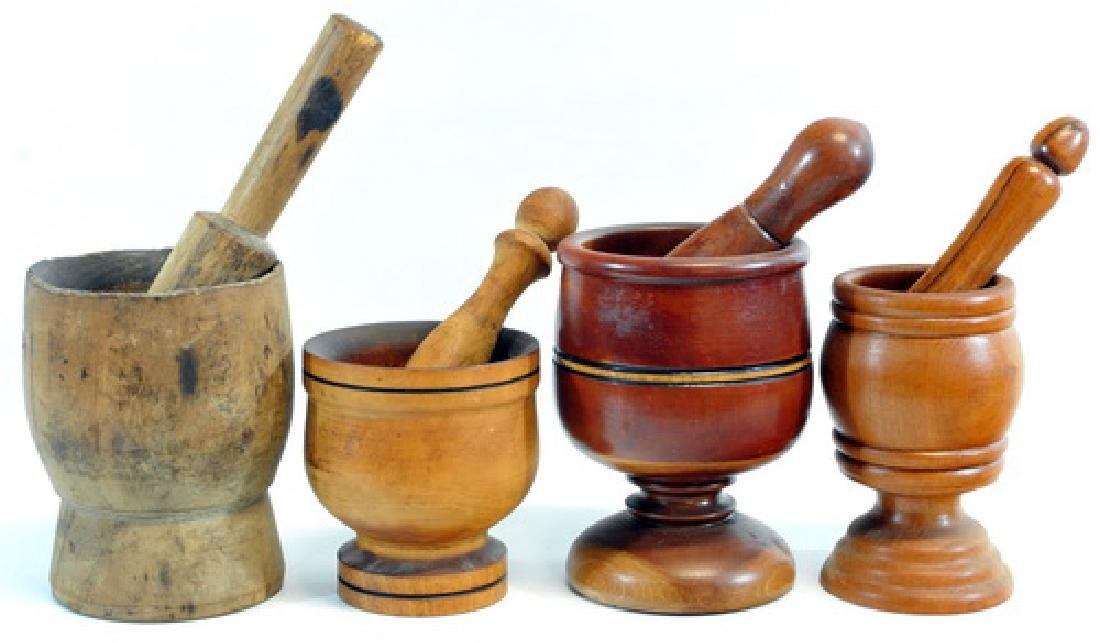 9 Antique Wooden Pestle & Mortar's