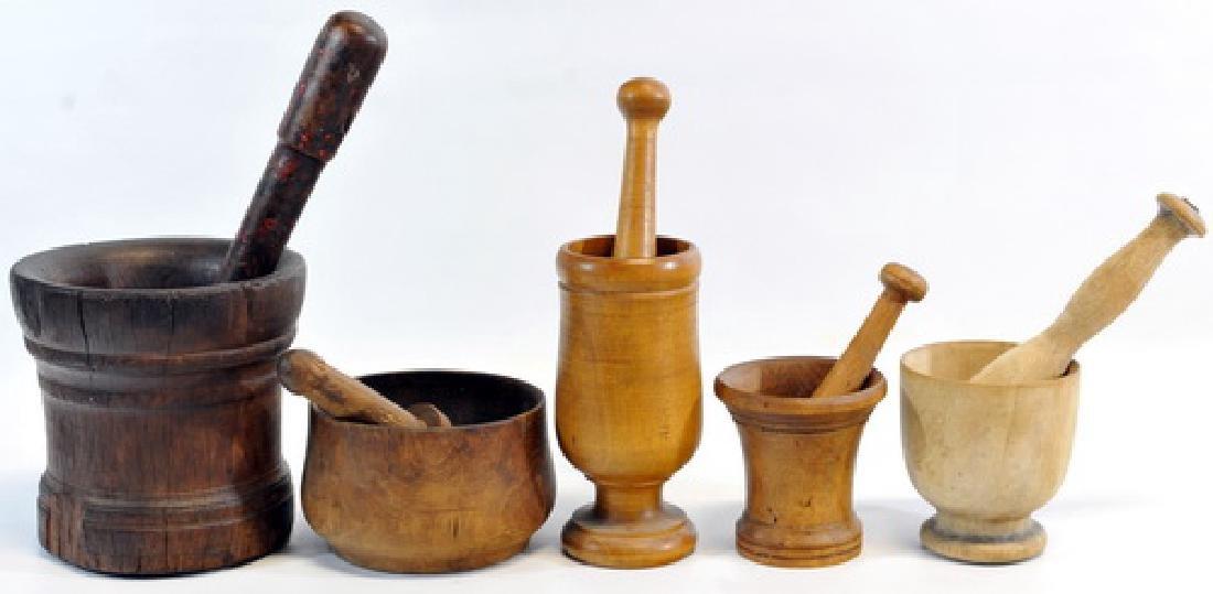 9 Antique Wooden Pestle & Mortar's - 2