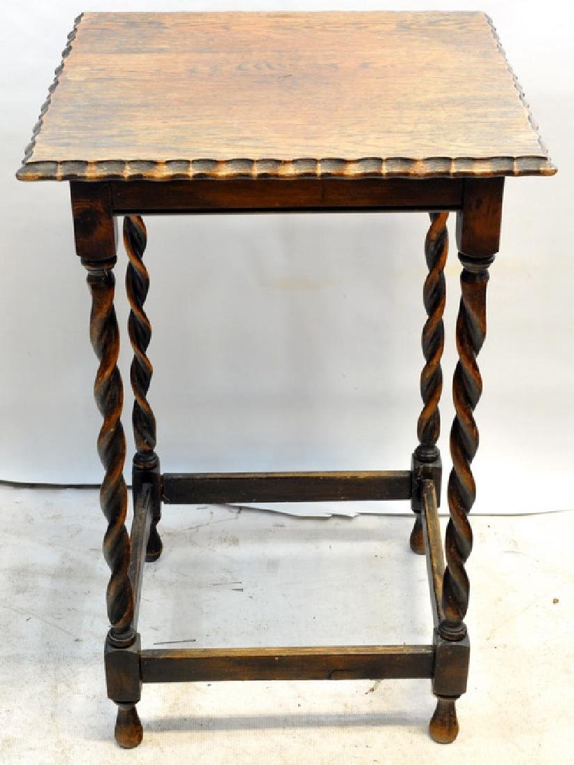 2 Antique Side Tables With Spiral Legs - 2
