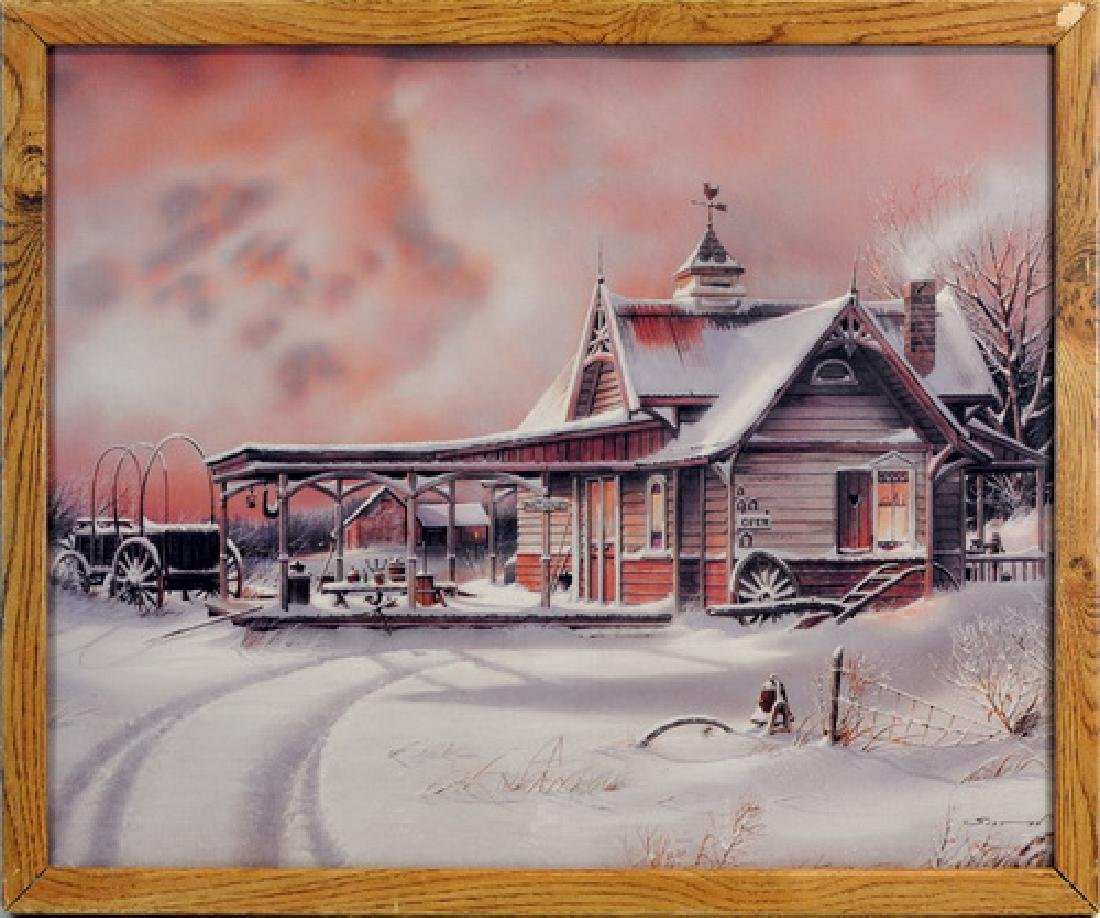 One Print of A Store In A Snow Scene