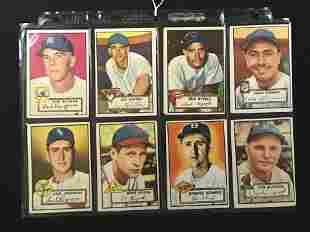 8 1952 Topps Baseball Cards Crease Free