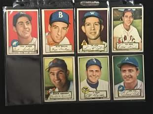 7 1952 Topps Baseball Cards Crease Free