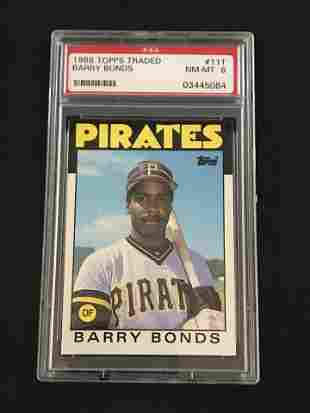 1986 Topps Traded Barry Bonds Rookie Psa 8