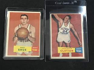 Two 1957 Topps Basketball Cards With Hof Rc