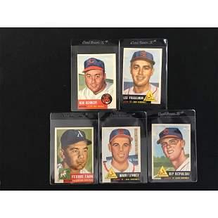 5 1953 Topps Baseball Cards High Grade