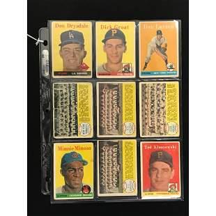 9 1958 Topps Baseball Stars/team Cards
