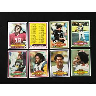 349 1980 Topps Football Cards Partial Set