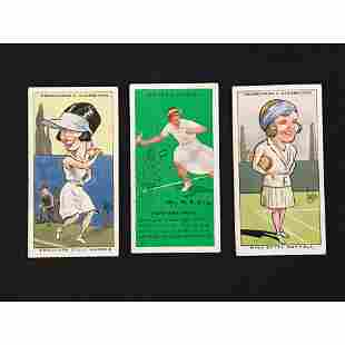 3 Female Tennis Cigarette Cards