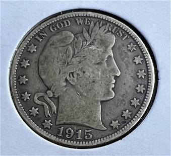 Two Barber Half Dollars 1908-d/1915-d