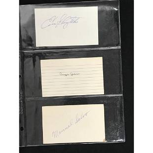 Three 1930's-40's Signed Index Cards