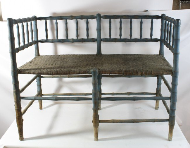 5A: Blue painted wagon bench