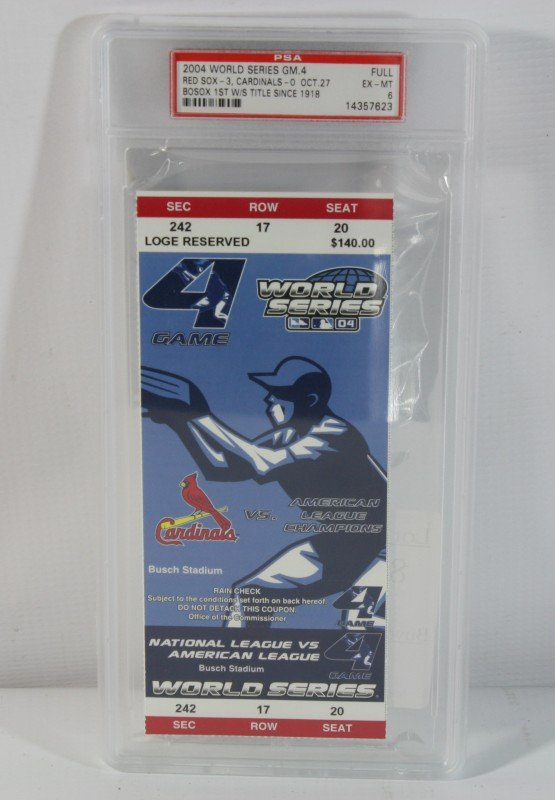 8: Uncut 2004 Red Sox World Series Game 4 Ticket PSA Gr