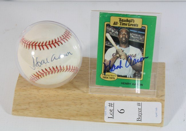 6: Hank Aaron signed ball and card