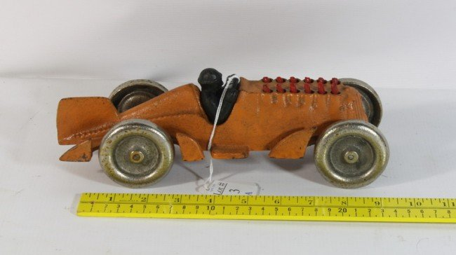 """3A: 10"""" Cast Iron Hubley racer wiith nickle plated whee"""