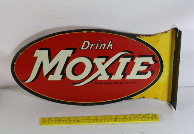 """5A: 18 1/4"""" Double sided Drink Moxie Flange Sign"""