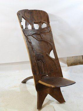 84 Carved African Birthing Chair