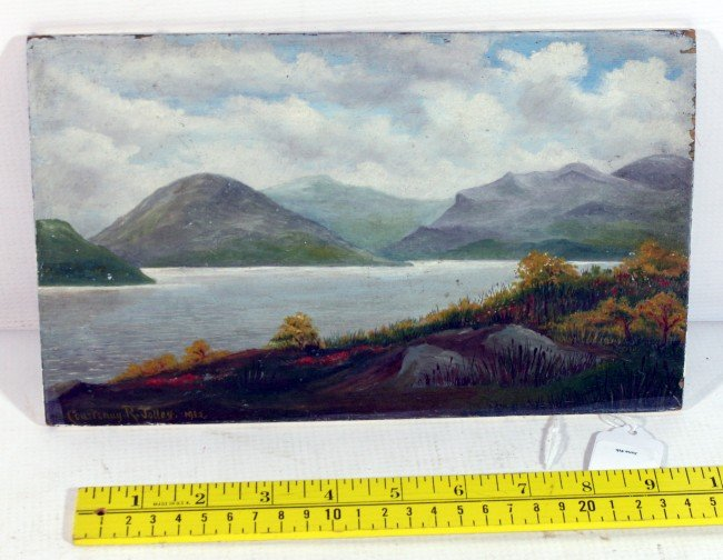 8: OIl On Panel of western Maine signed Courtenay Jolle
