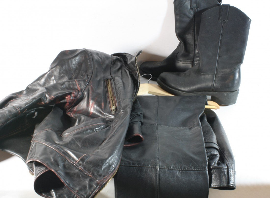 15: Leather motorcycle boots, Jacket and pants