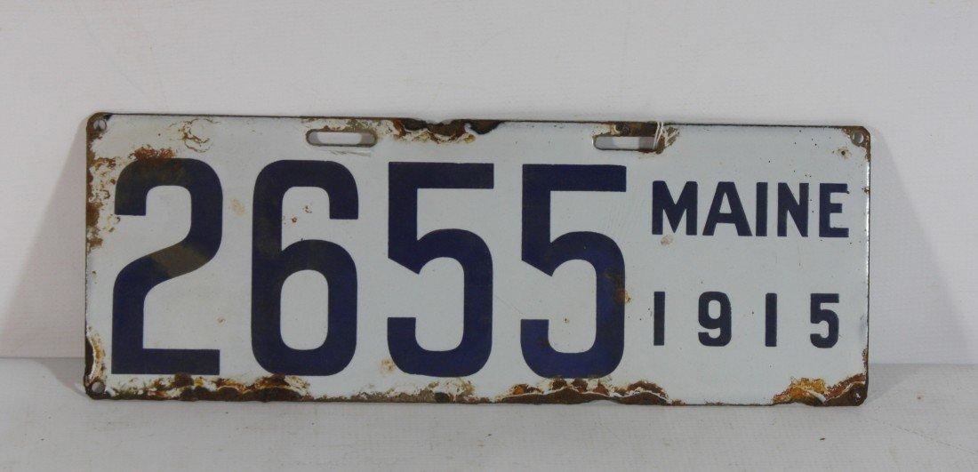 16: 1915 Porcelain Maine License Plate