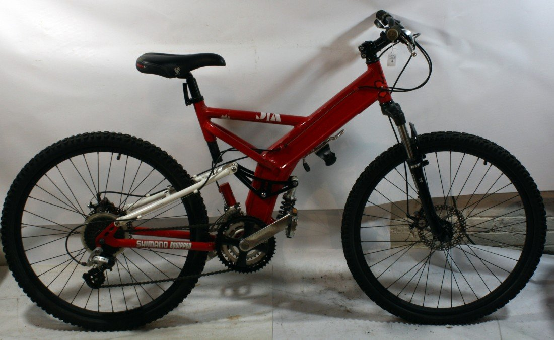 4: Red 21 speed mountain bike with custom parts
