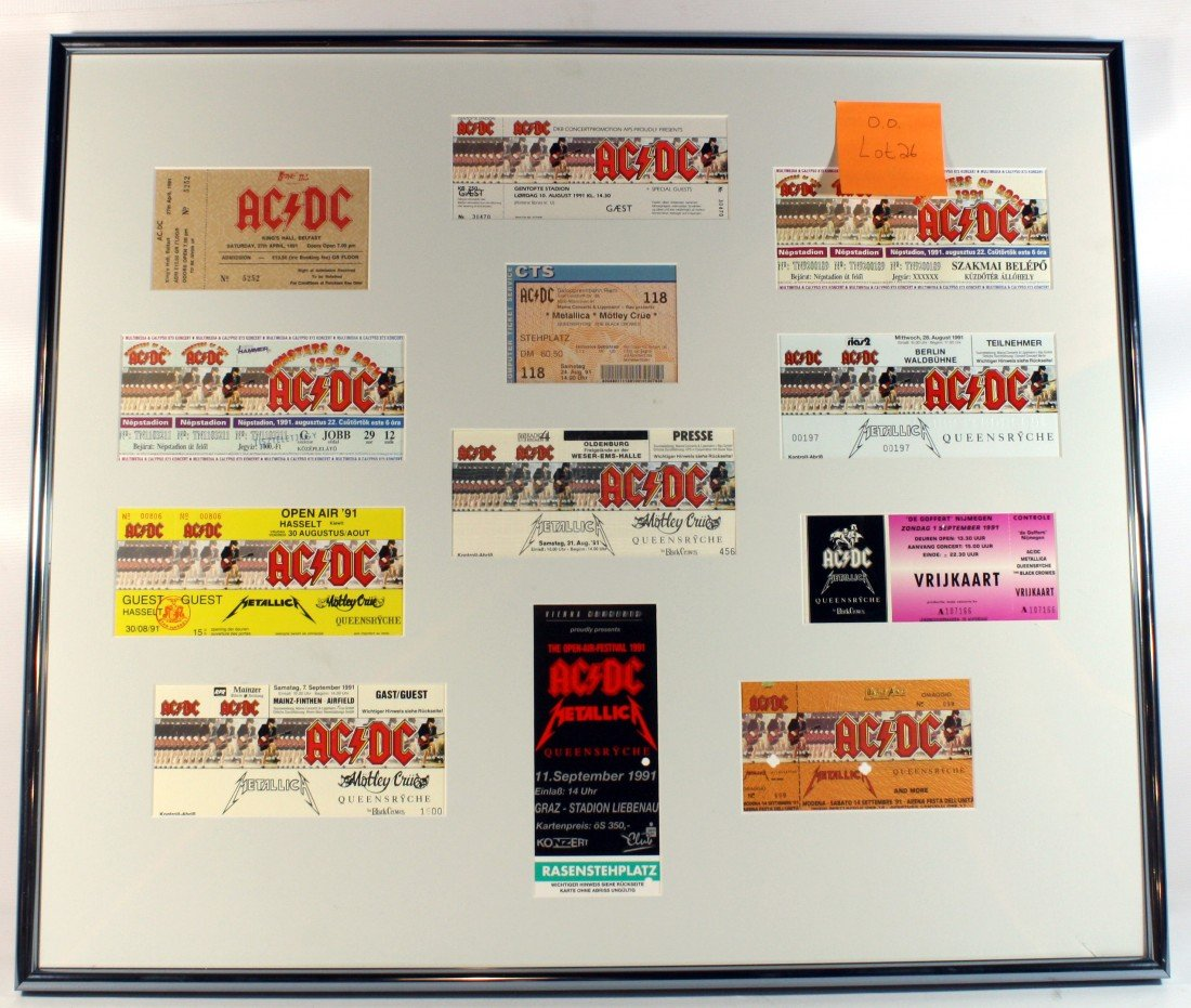26: 12 Framed AC/DC tickets from around Europe