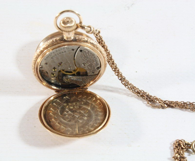 5A: 14kt Watham 15 Jewel Pocketwatch w/ Chain