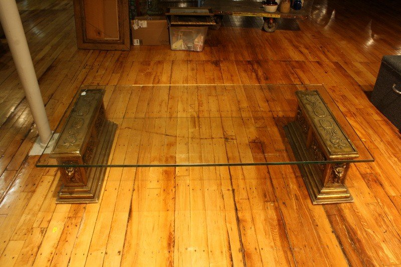 5: 6' Glass Coffee table with pedestal base