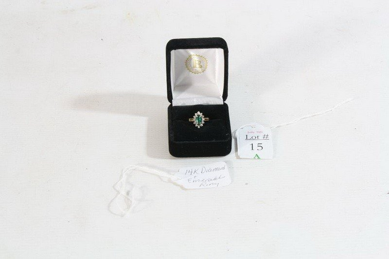 15A: 14k Diamond and Emerald Ring