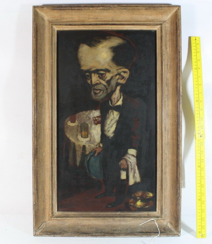 """27: Oil on board, """"Waiter"""" 1942  22""""x 12""""  by  Frank Ro"""