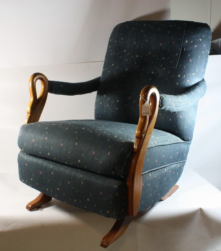 234 Upholstered rocker with swan decorated arms Lot 0234 – Swan Arm Rocking Chair