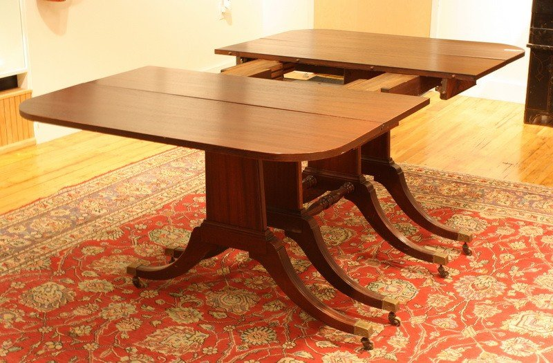 """5: Mahogany extension table double pedestal 57"""" without"""