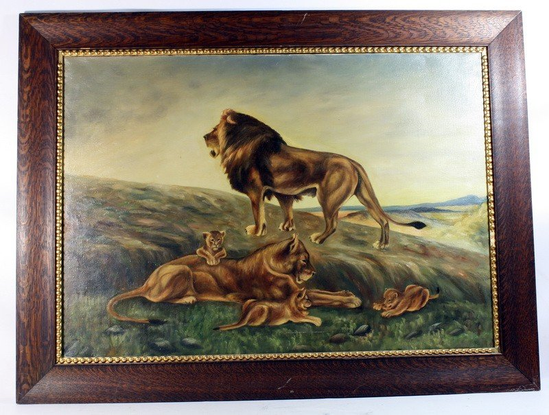 10: OOC 23x34 depicting a pride of lions unsigned