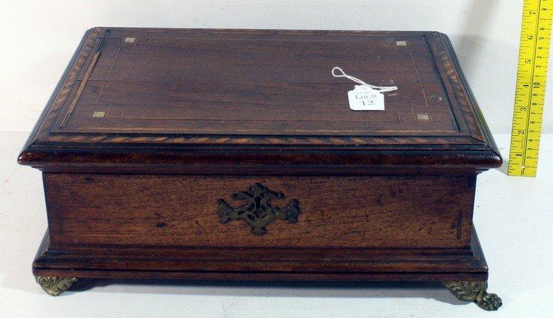 12: Mahogany  necessarie box with marketry inlay and mo