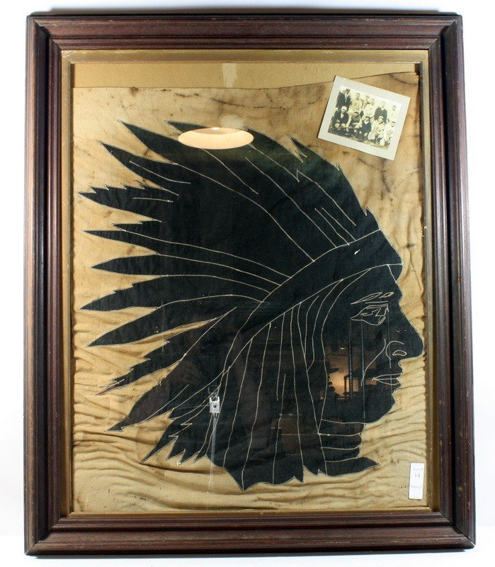"""14: 26"""" x 37"""" Canvas sports flag depicting Indian head"""
