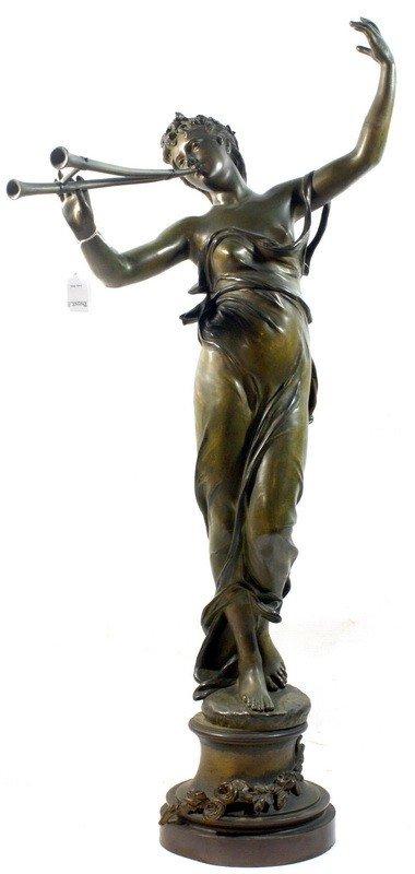 16: Joueuse de flûte bronze statue by Eugene Marioton 4