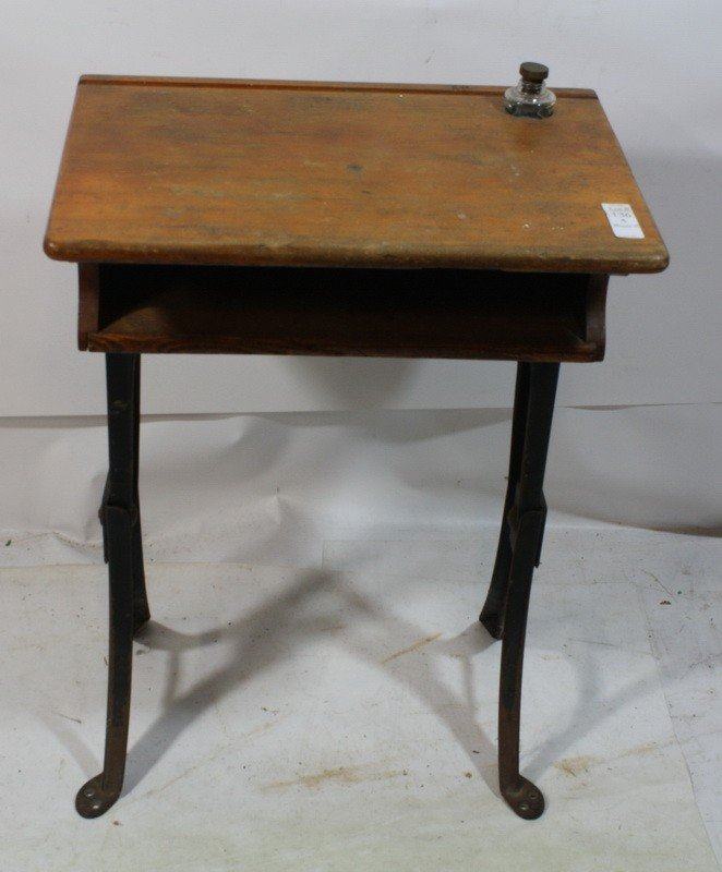 136A: School desk with inkwell insert - School Desk With Inkwell Insert