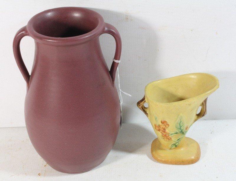 "11: 2 Pottery vases Roseville and 12"" matte vase"