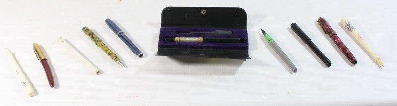 19: Pen lot with golden nibs and Waterman Pen In origin