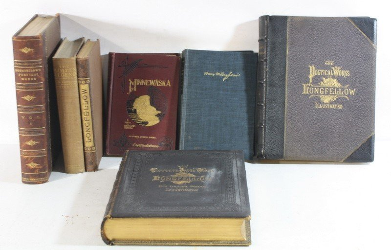 20: 7 Longfellow Books Including leatherbound